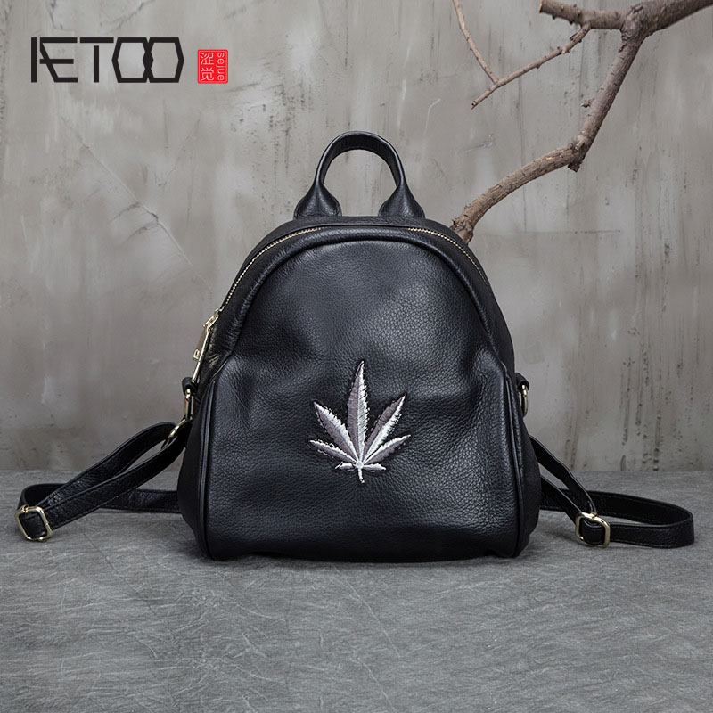AETOO New Korean version of the handbag backpack leather handbags women's embroidered backpack shoulder bag the other side of the road new extended version cd