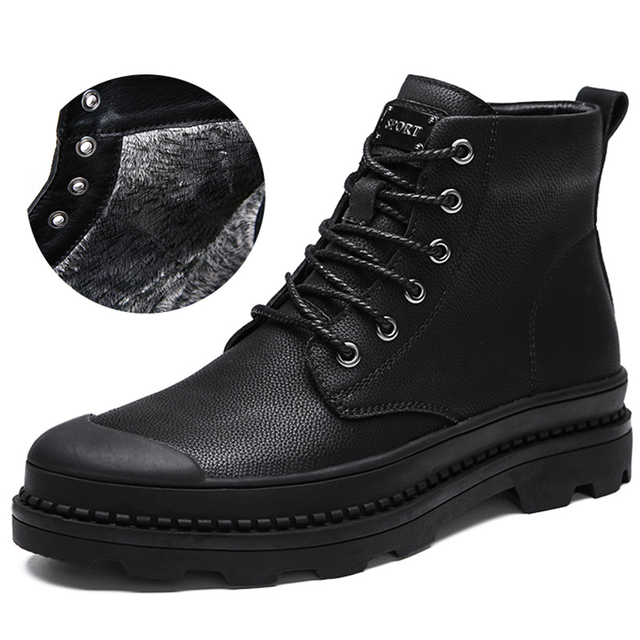 b5015511b57f0 Men Black Leather Snow Boots Rubber Sole Warm Winter Non Slip Plush Inside  Cold-Weather Boot