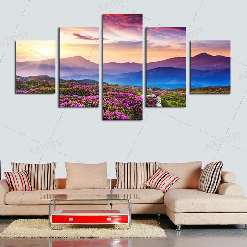 Artryst 5 piezas lienzo, flores, cuadros de pared para sala de estar, - Decoración del hogar