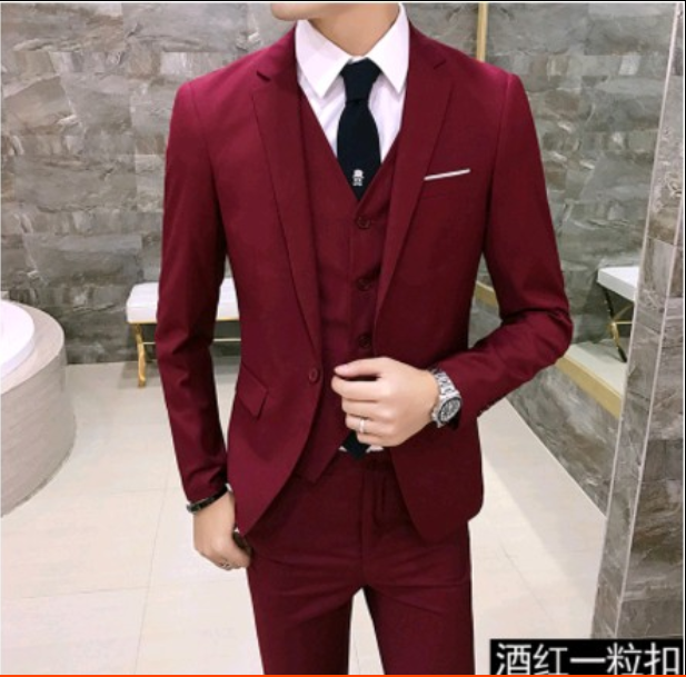 3 pieces men one button slim fit wedding party suits short jacket pants vest Hot A47