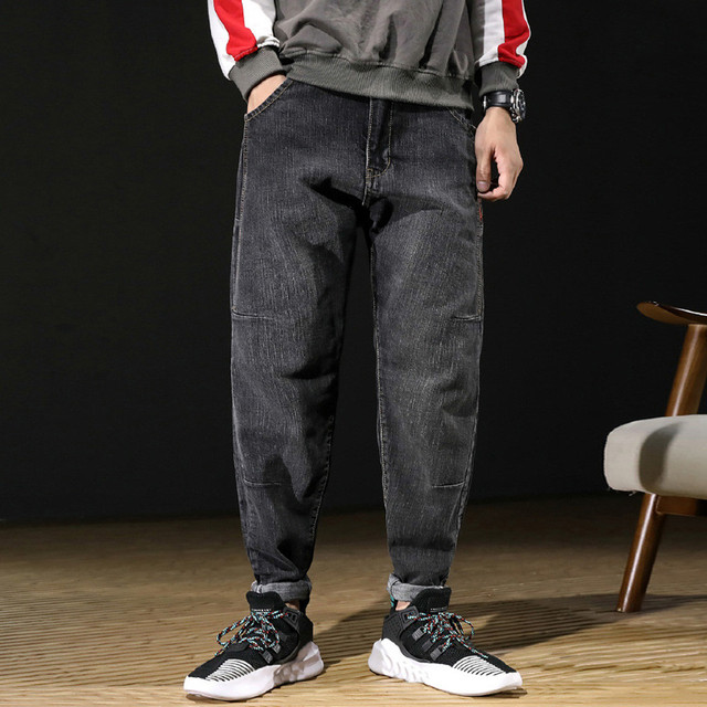 Mens High Quality Stretch Denim Harem Hip Hop Loose Pants Distressed Freeyed Pocket Loose Jeans Trousers