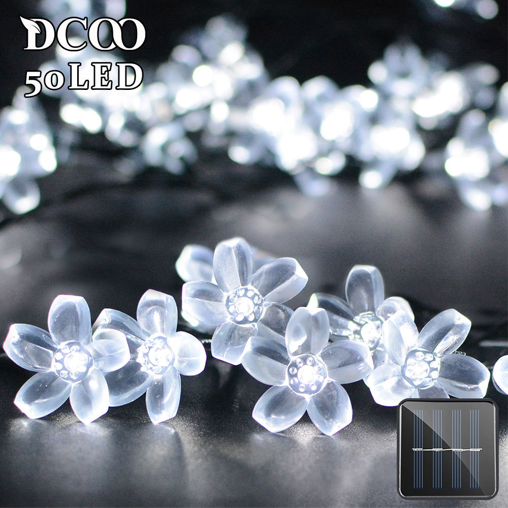 Dcoo Solar LED Lights 21ft 50 LEDs Fairy Flower Blossom Christmas Party Lights Trädgård Solar Light Solar Lamp Outdoor Solar Led