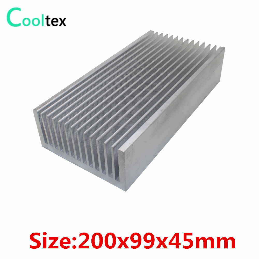 (High power) 200x99x45mm Pure Aluminum Extruded heatsink cooler Heat Sink radiator for chip LED Electronic cooling DIY high power 125x125x45mm aluminum heatsink heat sink radiator for electronic chip led cooler cooling recommended
