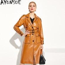 Ayunsue 2020 novas mulheres jaqueta de couro genuíno natural casaco de pele carneiro longo trench feminino outono inverno casacos couro real w00192