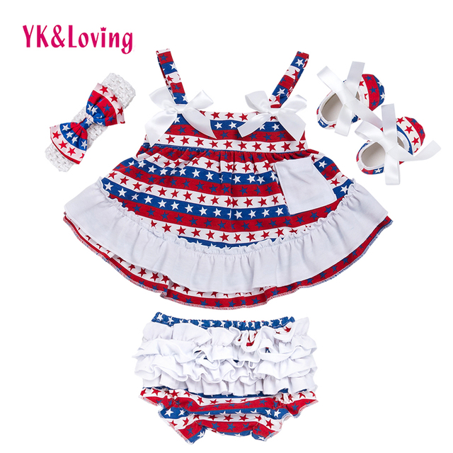 568b03ee4bfb 4th of July Girl Outfit Briefs+Sling Girls 4pcs Cotton Baby Clothing ...
