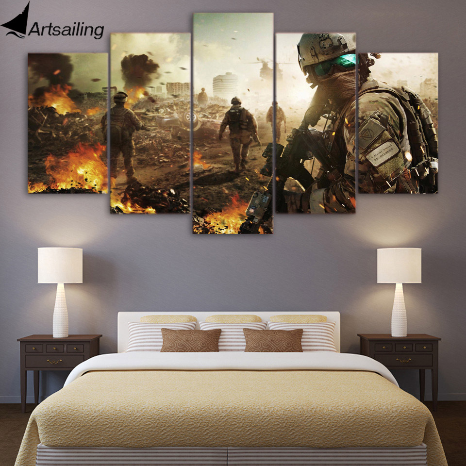 5 piece canvas art Army battlefield soldier posters canvas painting wall pictures for living room free shipping XA1592A
