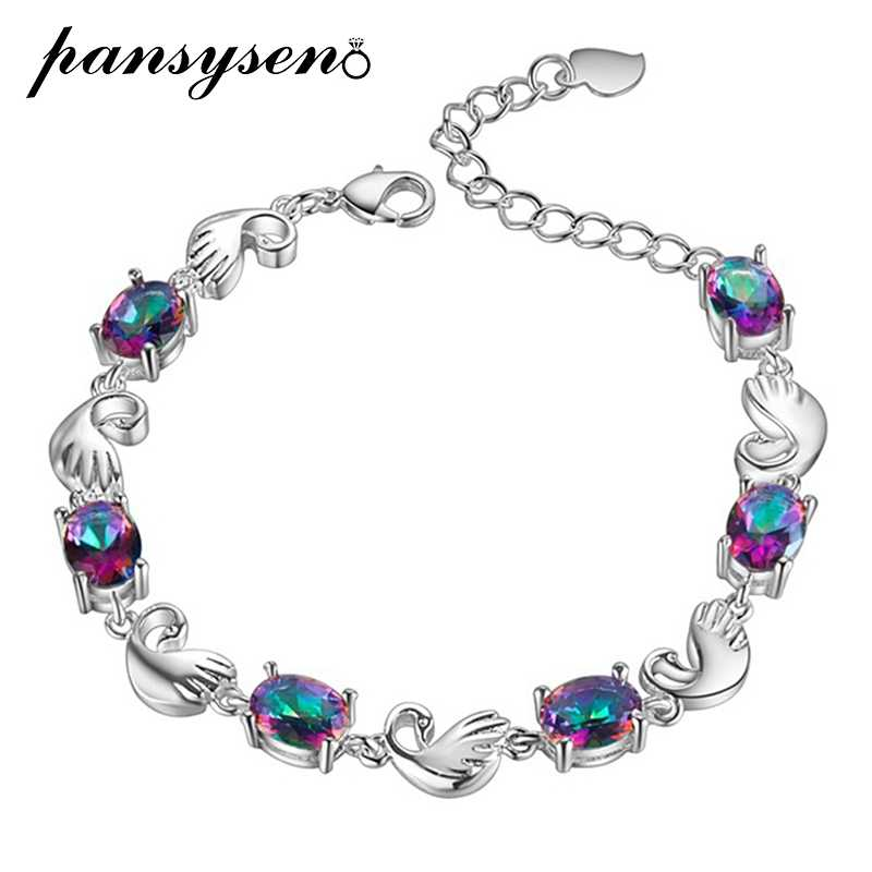 PANSYSEN Top Quality Oval 6x8mm Multicolor Topaz Bracelets 925 Silver Women's fashion Charms Bracelet Birthday Party Gifts New