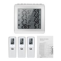 LCD Digital Wireless Indoor Outdoor Thermometer Hygrometer Four channel Temperature Humidity Meter Weather Station Clock