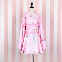 Vintage Japanese Gril S Kimono Yukata Dress Traditional Japanese Kimono Faux Silk Satin Cosplay Floaral Dress
