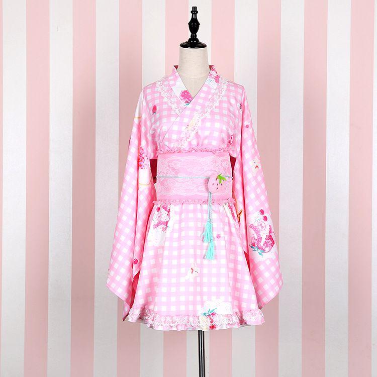 2017 Kimono japonais Vintage Tradition originale Yukata jupes avec Obi Sexy costumes Vintage fille Cosplay Floral Kimono 041804