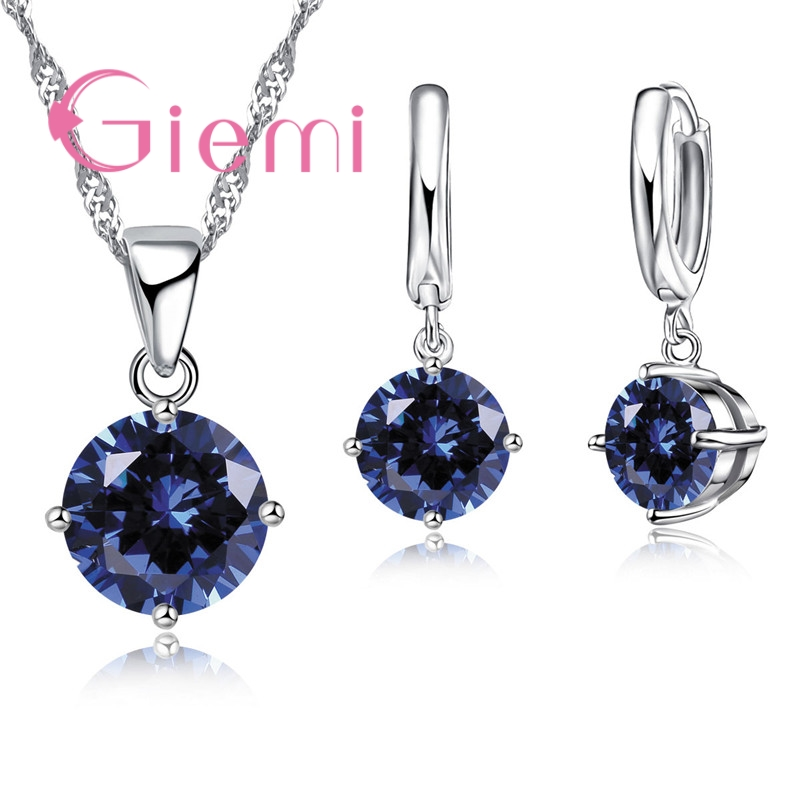Hot Sale 8 Colors Crystal Pendant Necklace Earrings Set 925 Sterling Silver  Elegant Jewelry Set Women Valentine Gifts(China)