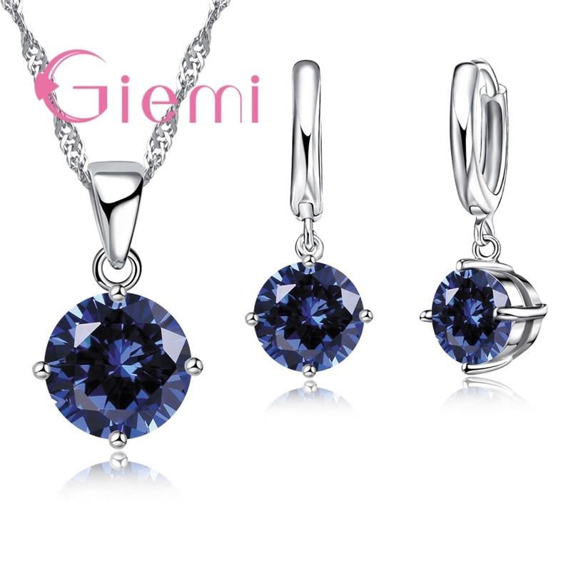 Giemi Heißer Verkauf 8 Farben Kristall Anhänger Halskette Ohrringe Set 925 Sterling Silber Elegante Schmuck-Set Frauen Valentine Geschenke