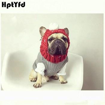 Zima pies ciepłe czapki boże narodzenie piękny czapki kostium akcesoria wełniany Puppy Hat z Cute Ball nakrycia głowy dla małych średnich psów tanie i dobre opinie Stałe 100 bawełna HptYfd Dogs Dogs Cap Handmake Christmas Decoration Woolen Yarn Red Green Grey 1 PC