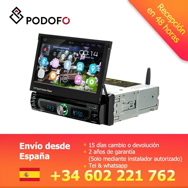 Podofo 1 din Android lecteur multimédia de voiture Wifi autoradio stéréo GPS Navigation universel voiture lecteur CD/DVD MP5 USB AM FM Radios