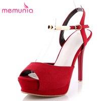 MEMUNIA 2017 new arriv women high heels sandals thin heels platform peep toe summer shoes flock solid glitter classic prom shoes