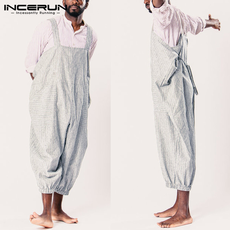 INCERUN Fashion Men Overalls Striped Pants Straps Loose Women Jumpsuit Streetwear Pockets Wide Leg Trousers Men Rompers S-5XL