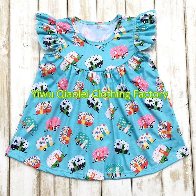 Cute kids T-shirts pearl tops camper trailer girl tops free shipping