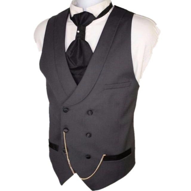 Custom Made Dark Gray Men Suit Vests Slim Fit Formal Waistcoat For Man Wedding Prom Vest double-breasted