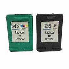 Vilaxh 2pcs For HP 343 338 compatible Ink Cartridge for HP Deskjet 5740 6520 6540 6840 320 330 370 380 420 6940 6980 printer цены
