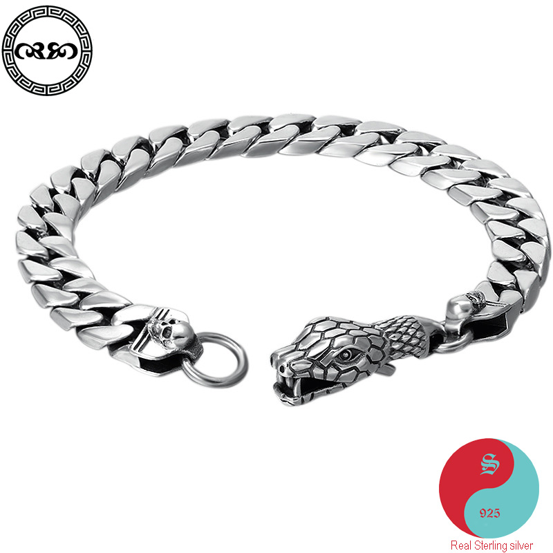luxury Men lucky Real Pure S925 sterling silver bracelet Cuban chain bracelet Snake minimalist mens Fine Jewelry Women pulseiras
