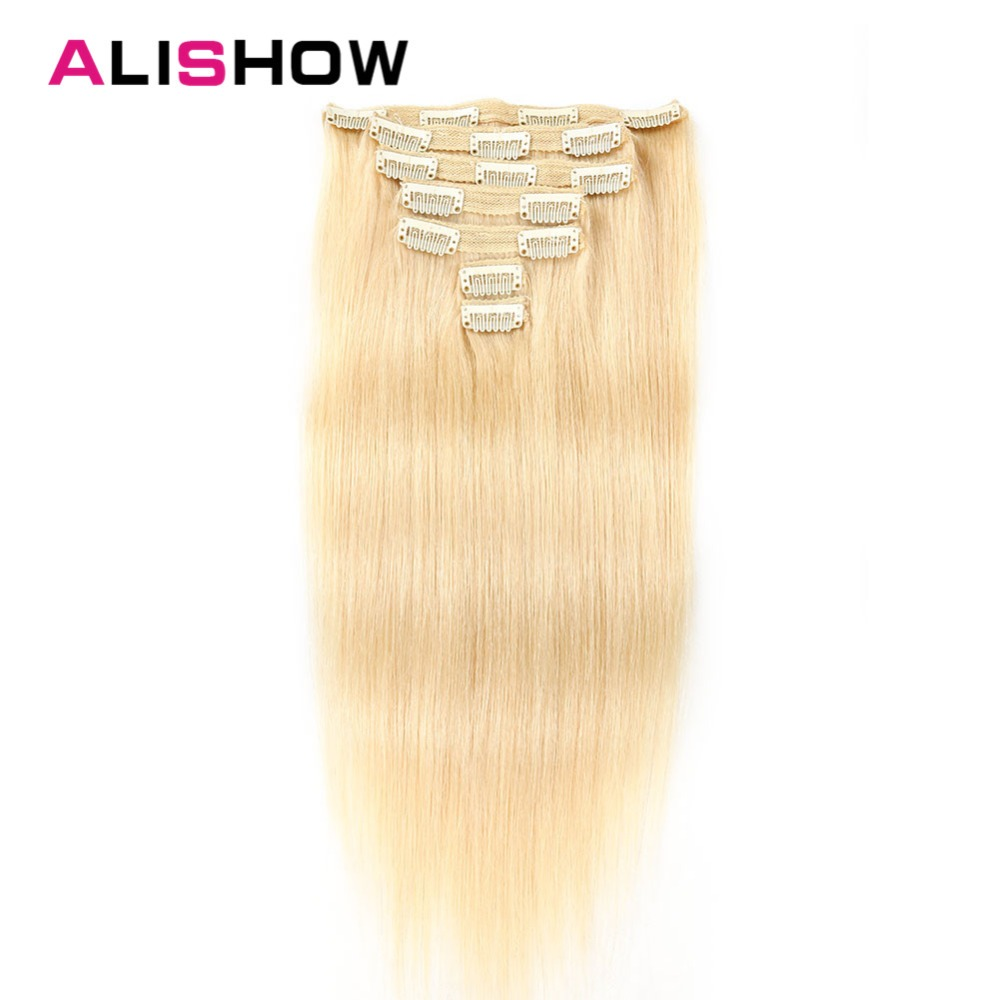Alishow Clip In Human Hair Extensions Double Drawn Clips In Remy Hair Extensions 7pcs 100g/pack Light Blond Straight Hair