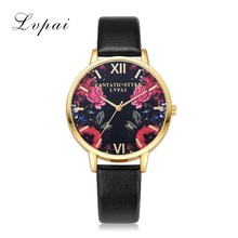 Lvpai Brand 2017 Leather Strap Quartz Electronic Gold Watches Women Fashionable Casual Flower Black Surface Ladies Clock LP160