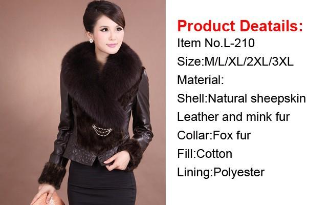 Dhl Ems Free Shipping Real Mink Fur Coat Leather Jacket Mink Fur