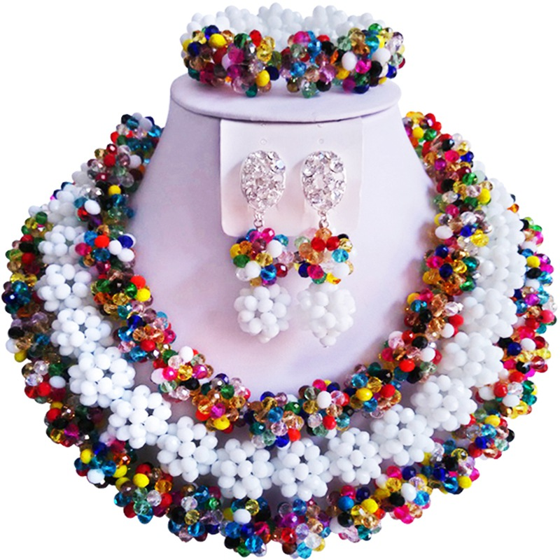 Latest Multicolor Opaque White African Anniversary Crystal Beads Necklace Jewelry Set 3C-SJTQ-08