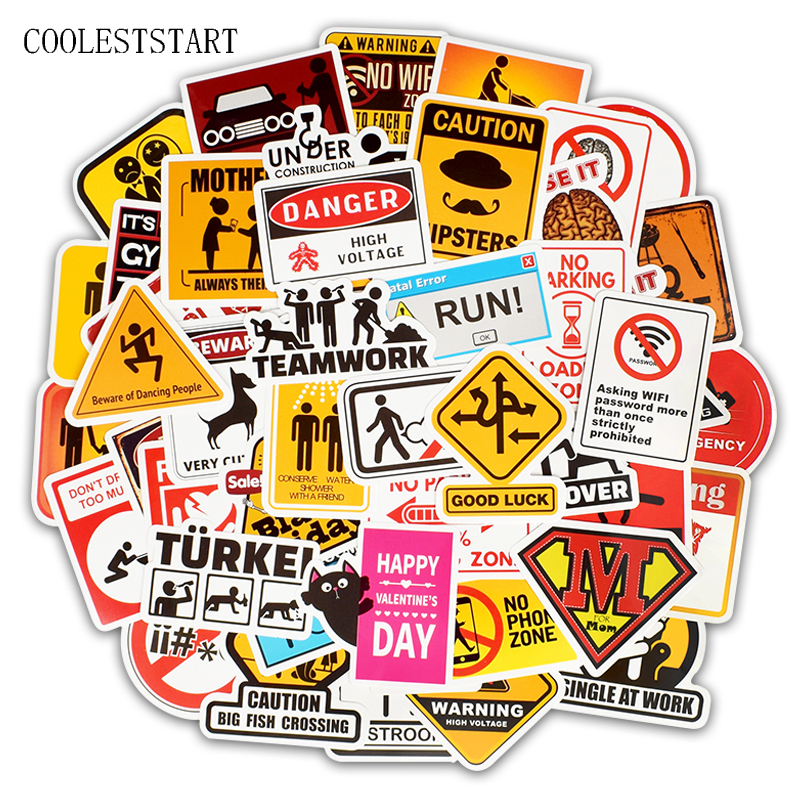50 Pcs/Set Sign Decal Stickers Logo And Warning For Luggage Laptop Car Bicycle Motocycle Fridge Guitar Car Styling For Adult image