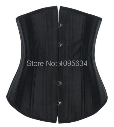 free shipping  24 Steel Boned New Sexy Stain Corset Busiter Waist Woman Corsets S-2XL