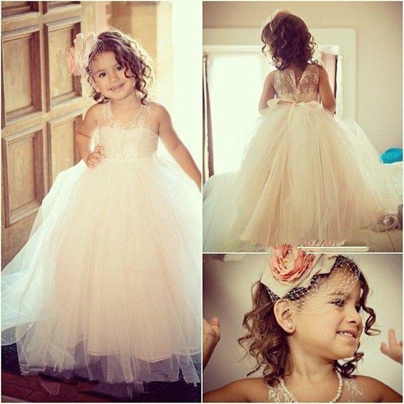 Cute   Flower     Girl     Dress   Sheer Scoop Neck Sleeveless Floor length Lovely Little Princess Prom Gown for Wedding Party