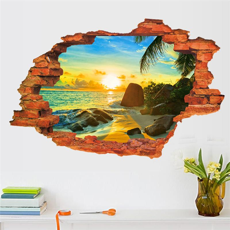 Sea Beach Through The Wall Stickers Bedroom Decorations 8024d Home Decals Pvc Pastoral Mural Art Scenery Poster 3 0