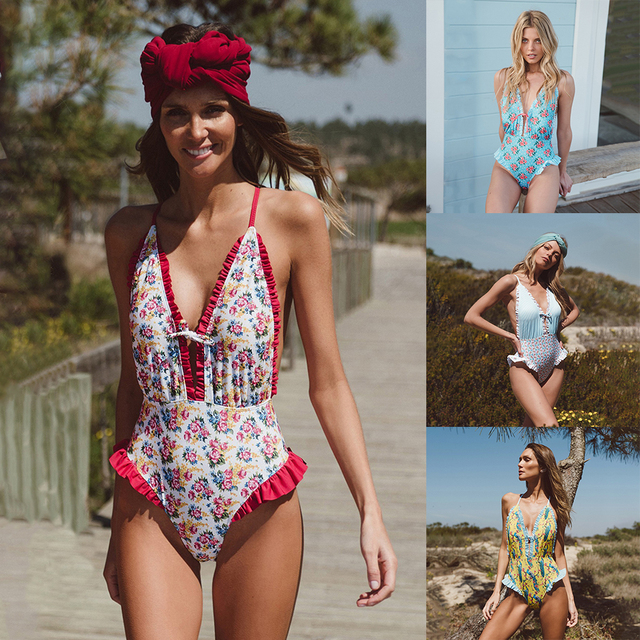 7530ab8d3f650 2019NEW flouncing Print cross back one piece women high waist swimsuit  bodysuit swimwear jumpsuit leotard bathing Beach Drop