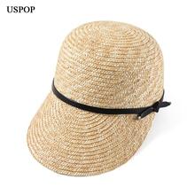USPOP 2019 New women visor sun hats female wide brim straw hat summer casual shade beach cap leather bow