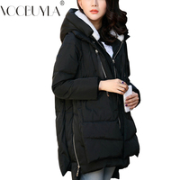 Plus size 5XL Winter Coats Jackes Women Fashion Big Pocket Solid Long Parkas Femme New Hooded Down Cotton Jacket Thicken Ladies