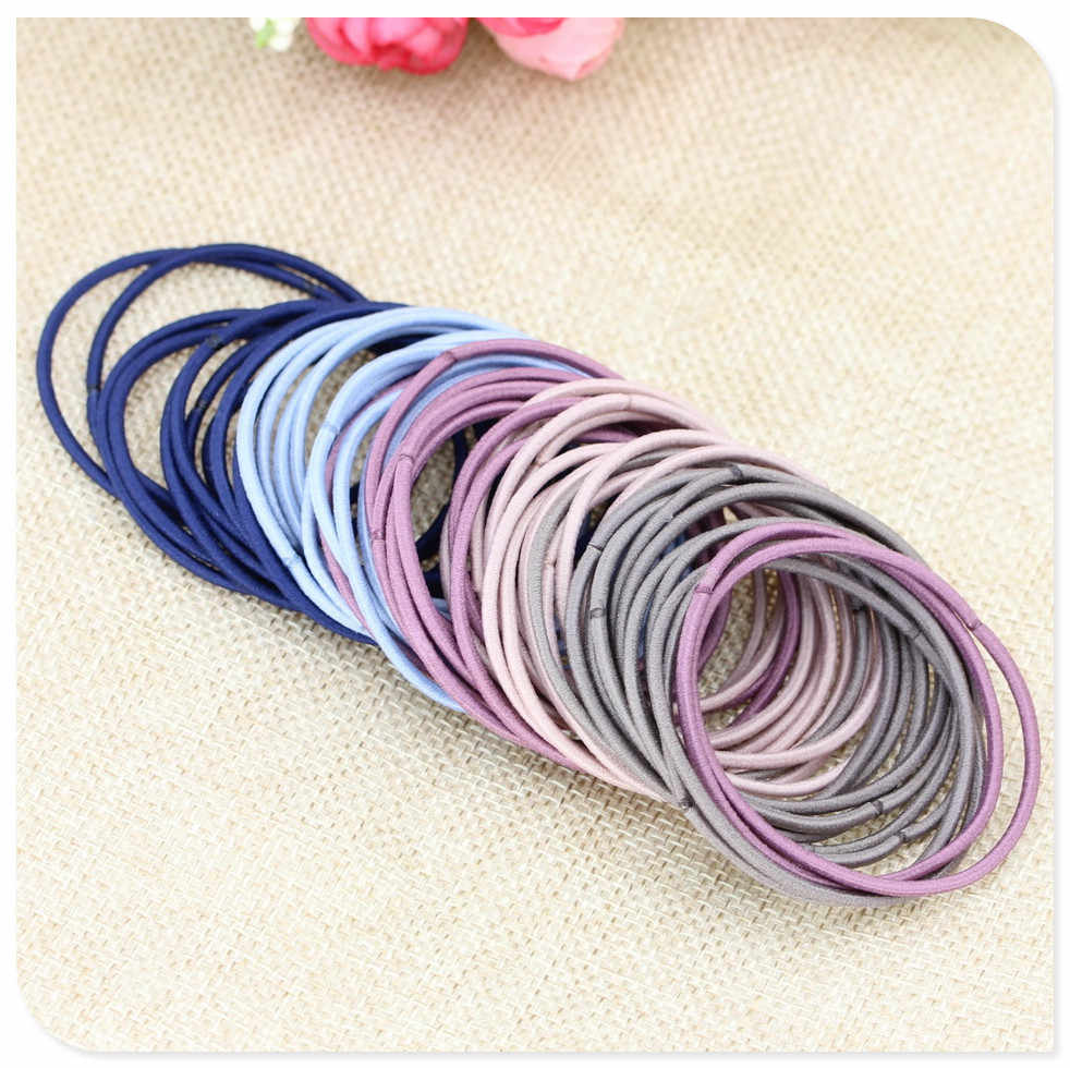 Quality 50pcs 5CM Hair Accessories Women Rubber Bands Scrunchy Elastic Hair Bands Girls Headband Decorations Ties Gum for Hair