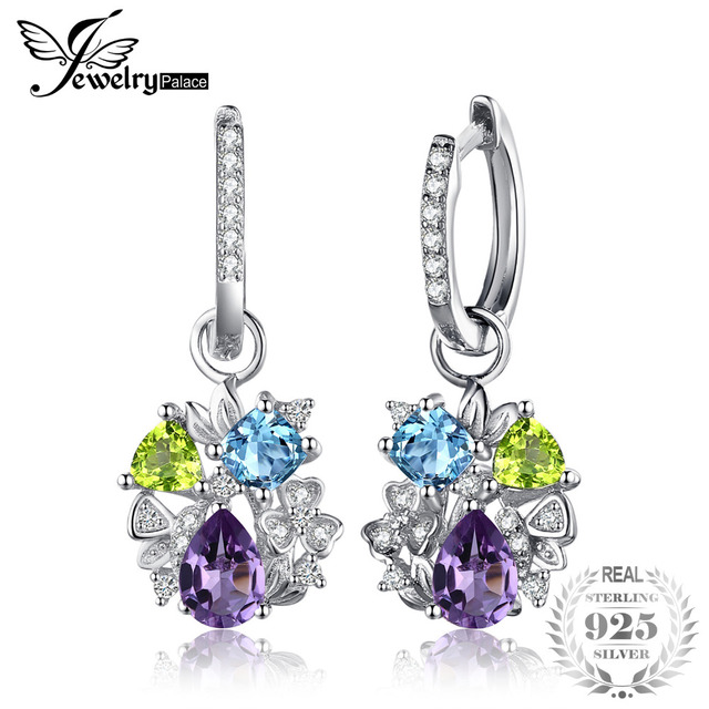 JewelryPalace 2ct Genuine Amethyst Peridot Sky Blue Topaz Dangle Earrings 925 Sterling Silver For Women New Hot Sale As Gifts