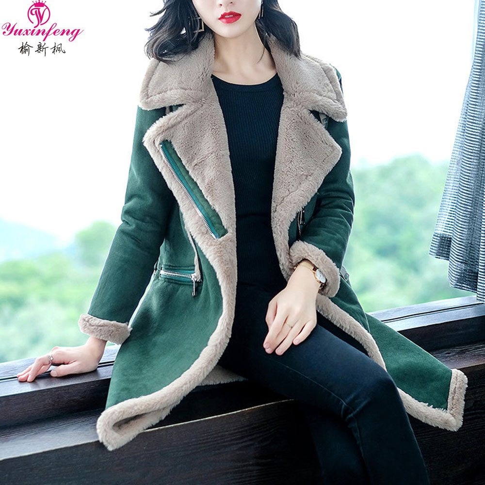 Yuxinfeng Autumn Winter Women Long   Parkas   Warm Velvet Suede Coats Female Casual Thick Faux Lambswool Jacket Casual Outwear