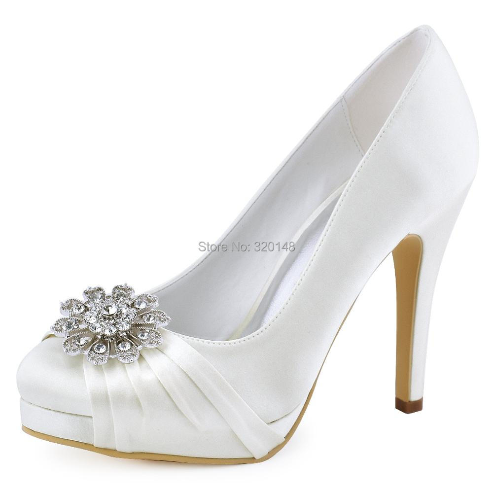 Woman Shoes White Ivory High Heel Platform Wedding Heels Rhinestone Satin Bride Lady Prom Evening Party Bridal Pumps EP2015NW