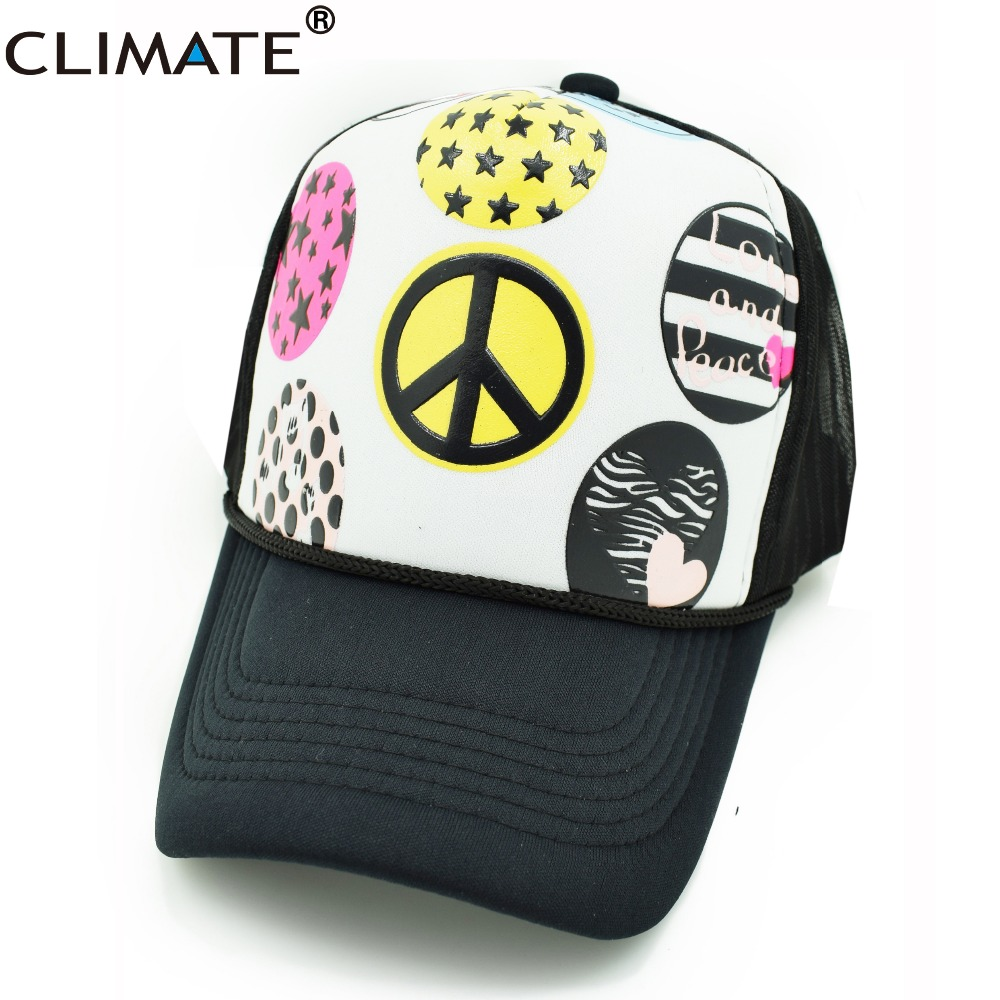 CLIMATE new New Cool Summer Cool Girls Mesh Caps Hat Women Love and Peace Summer Mesh Net Adjustable Trucker Cool Baseball Caps