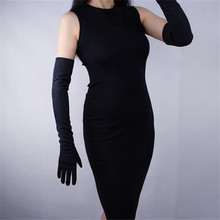 Matte Brushed Suede Women Gloves Frosted Sanding Emulation Leather Unlined Long Style Black Womens Mittens TB58-9
