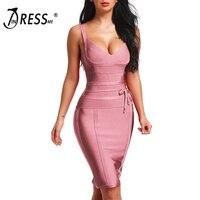 INDRESSME 2019 Women's Bandage Dress New Sexy Spaghetti Strap Deep V Backless Fashion Dress Bodycon Femme Vestidos Club Party