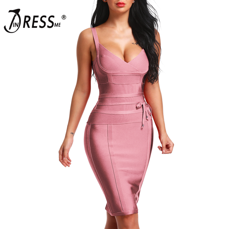 INDRESSME 2019 femmes Bandage robe nouveau Sexy Spaghetti sangle profonde V dos nu mode robe moulante Femme Vestidos Club fête
