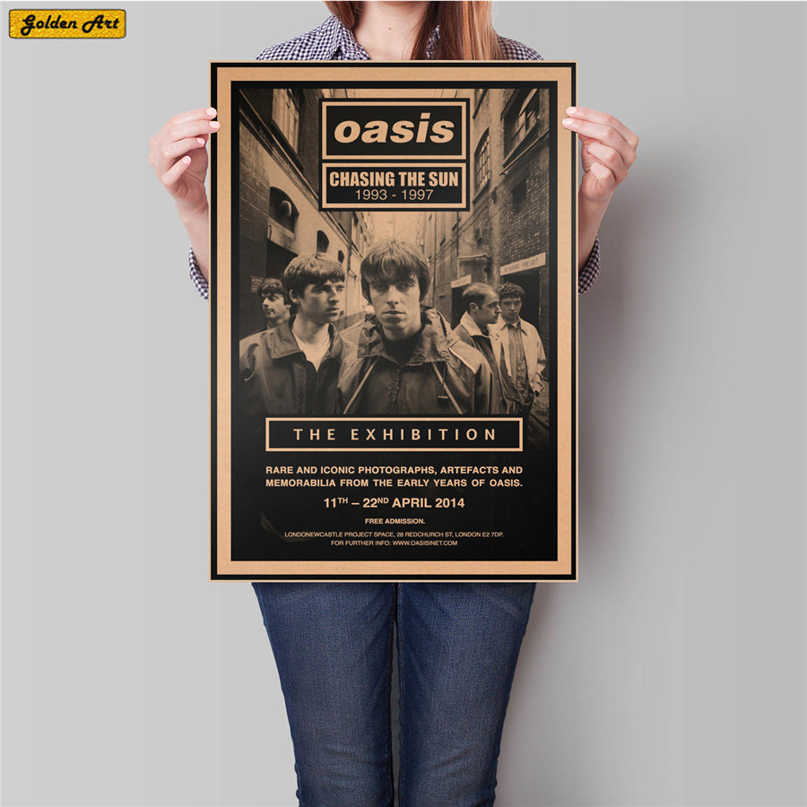 OASIS Rock Band Singer Vintage Bar Cafe Retro Kraft Paper Poster Bedroom Living Room Wall Sticker Painting 45.5x31.5cm