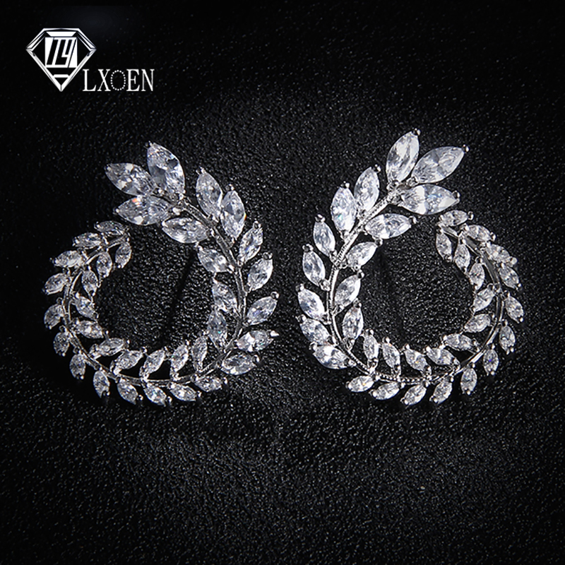 LEXON Luxury Olive Branch Cubic Zirconia Stud Earrings For Women White Gold Color Trendy Brand Earrings Brincos Gift E119(China)