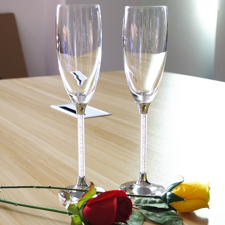 Top Wedding Crystal Champagne Gl 170ml Coupe Gles With Diamond Stem 2pcs Acrylic Champange Goblets As Gift In Other From Home