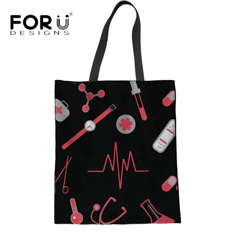db70565782aa FORUDESIGNS Cartoon Nurse Heartbeat Linen Tote Bags for Women Folding  Handbags Mom Reusable Grocery Bag School Girls Book Bolsa