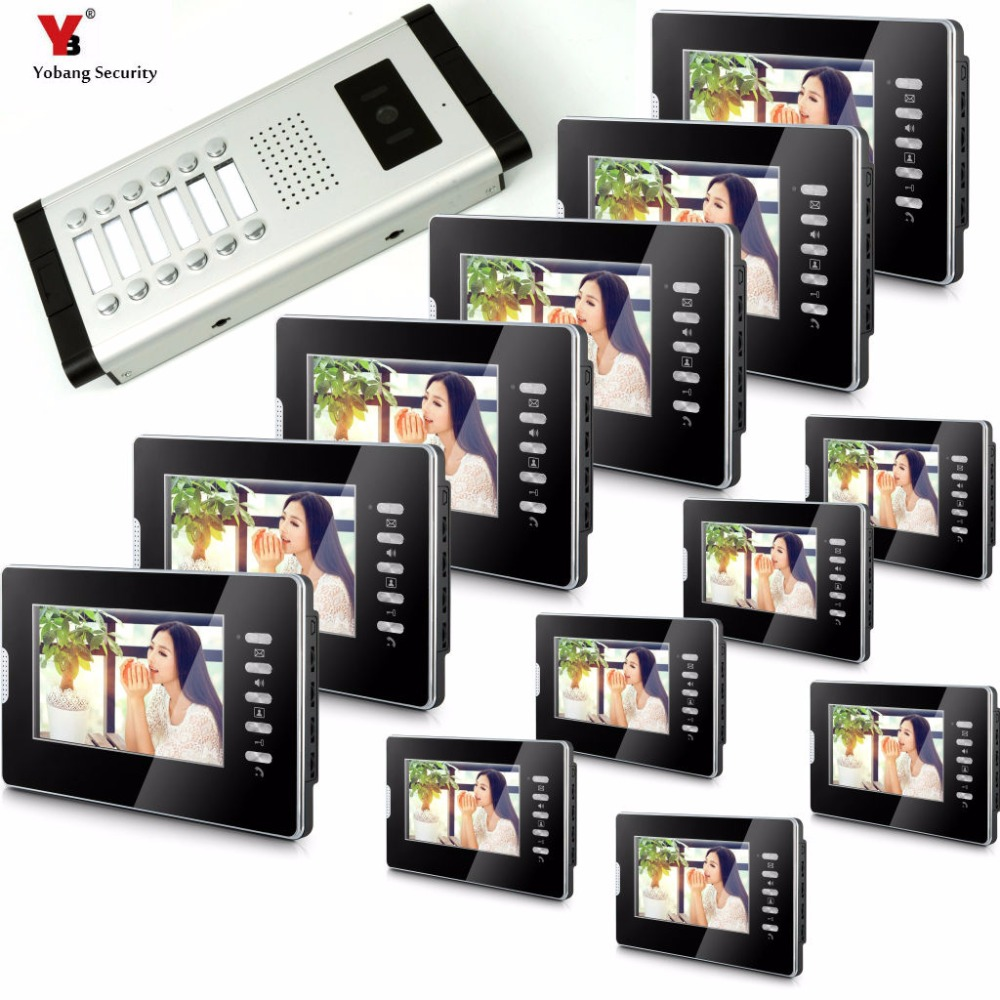 Yobang Security Apartment Intercom Entry 12 Monitor Wired 7 Color button Video Door Phone intercom System for 12 house my apartment