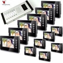 Yobang безопасности квартира домофон 12 Мониторы проводной 7 «Цвет кнопку телефон видео домофон Системы для 12 дом