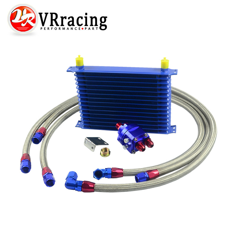 VR RACING - Universal Oil Cooler Kit 15 Row 10AN Aluminium Engine Transmission Oil Cooler Relocation Kit VR5115B+6724BR+3PCS pqy store blue 15 row an 10an universal engine oil cooler kit aluminum hose end kit pqy5128